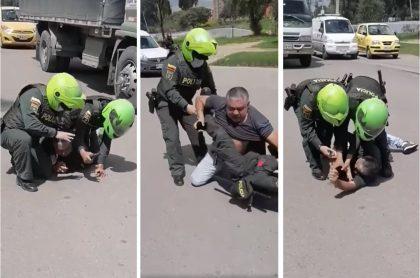 Capturas de pantalla de video sobre aparente caso de abuso policial en Bogotá.