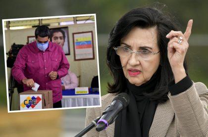Presidente de Venezuela, Nicolás Maduro, durante jornada de votación de las elecciones del 6 de diciembre de 2020, sobre las cuales la Canciller de Colombia, Claudia Blum (foto durante un discurso en Bogotá el 3 de diciembre de 2020) dijo que Colombia no las reconoce.