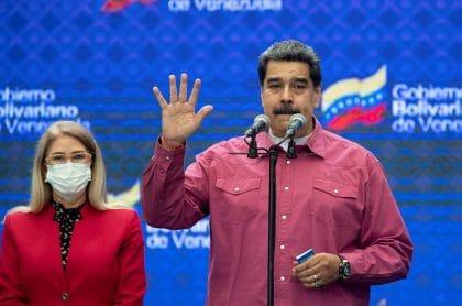 """El presidente venezolano, Nicolás Maduro, que pronunció un discurso tras votar en las elecciones parlamentarias del 6 de diciembre de 2020, dijo que los resultados de los comicios lo """"recontrarratificaban"""" como presidente."""