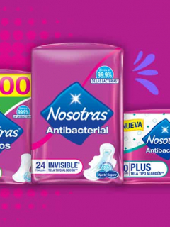 Características de toallas y protectores Nosotras antibacterial