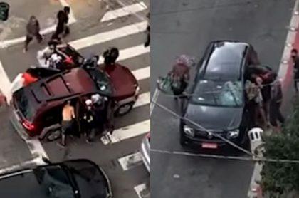 Ladrones roban a conductores en Sao Paulo, Brasil.