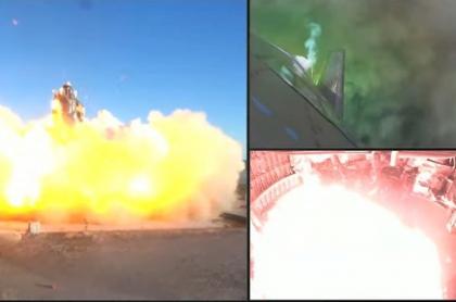 Imagen de la nave de SpaceX que explotó durante un aterrizaje de prueba.