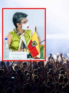 Fotomontaje de Claudia López y una multitud, que ilustra el anuncio que hizo la alcaldesa sobre el regreso de conciertos.