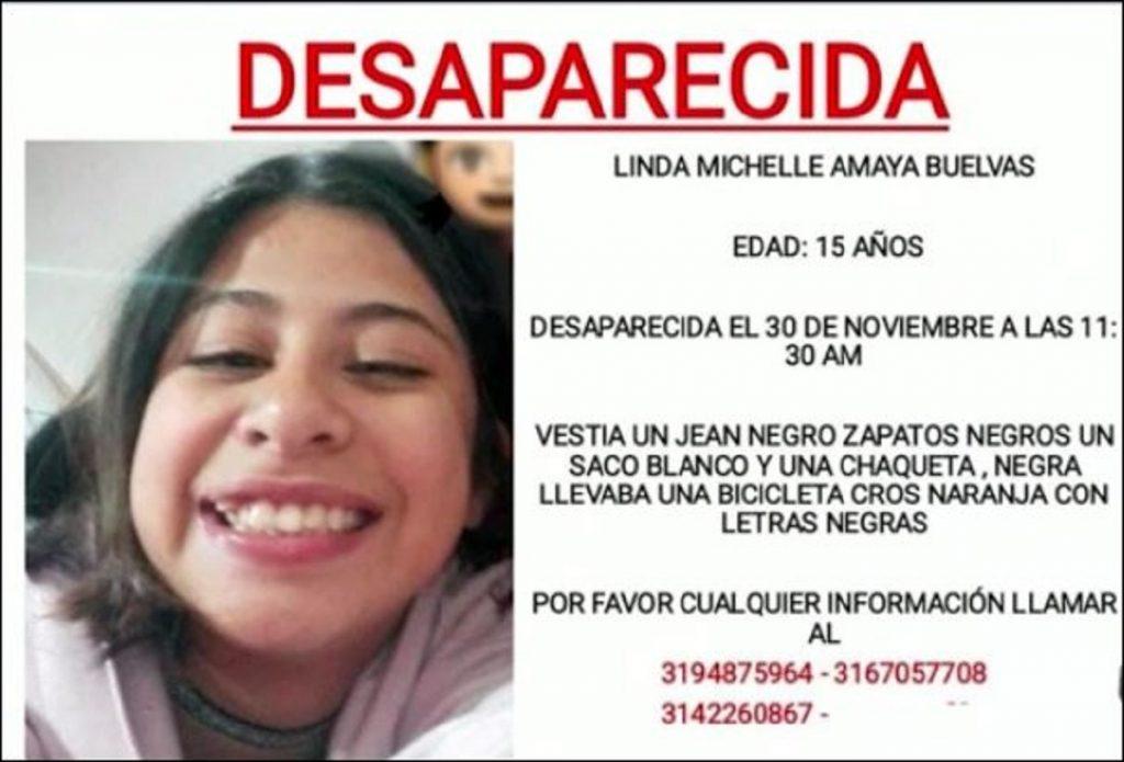 Lynda Michelle Amaya Buelvas, de 15 años, desaparecida en Bogotá.