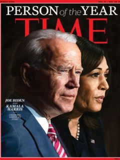Portada de la revista Time, destacando a Joe Biden y Kamala Harris.