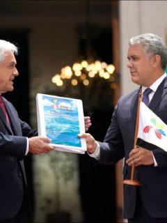 Iván Duque y Sebastián Piñera, durante la entrega de la presidencia de la Alianza del Pacífico