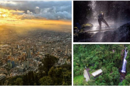 Puesta de sol en Bogotá, Colombia y cascada La Chorrera, en Choachí, Cundinamarca, planes de ecoturismo y aventura que se pueden hacer en Bogotá y alrededores.