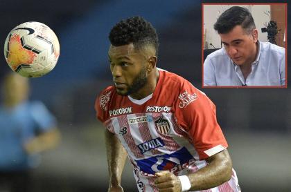 Fotos de Miguel Ángel Borja y Carlos Calero, en 2020, ilustra nota sobre trinos de Carlos Calero sobre el VAR y más de eliminación de Junior de la Liga Betplay.