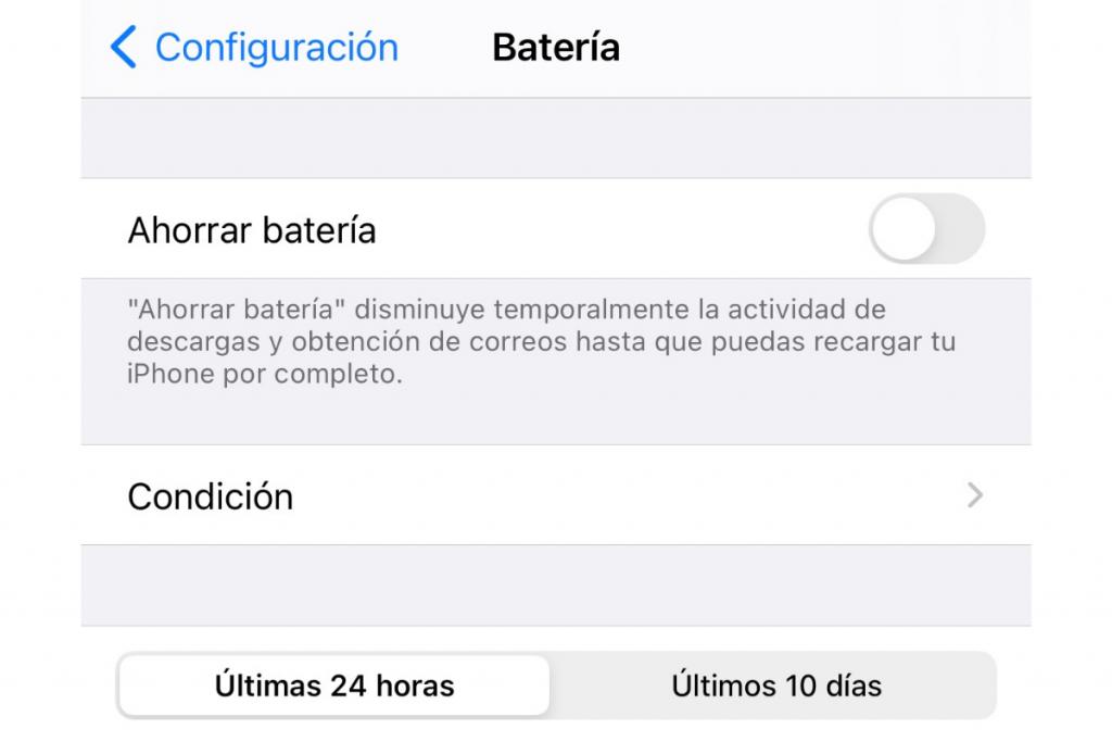Captura de pantalla de ajustes del celular