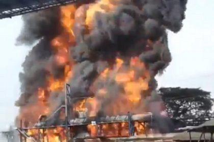 Incendio en fábrica de Incauca, en El Ortigal, Cauca