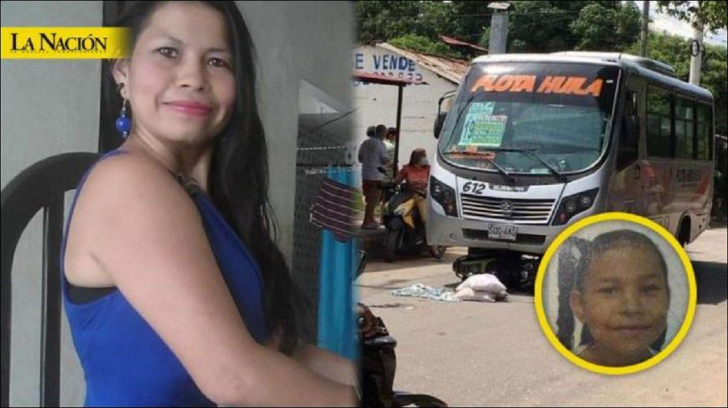 Madre e hija y la imagen del accidente - Tomada de La Nación