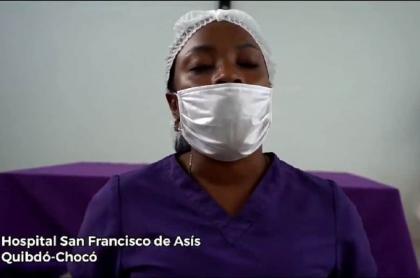 Enfermera que denuncia que les deben 4 meses de sueldo en el hospital San Francisco de Asís, Chocó