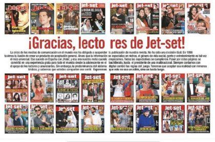 Con esta doble página, la revista Jet-set se despide de sus lectores.