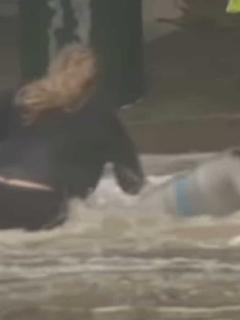 Imagen de la mujer que se lanzó a una inundación para rescatar barriles de cerveza.