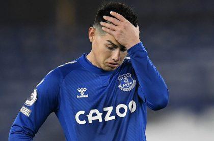 James Rodríguez, quien no se recuperó aún de su lesión y por eso no jugará este miércoles contra el Manchester United