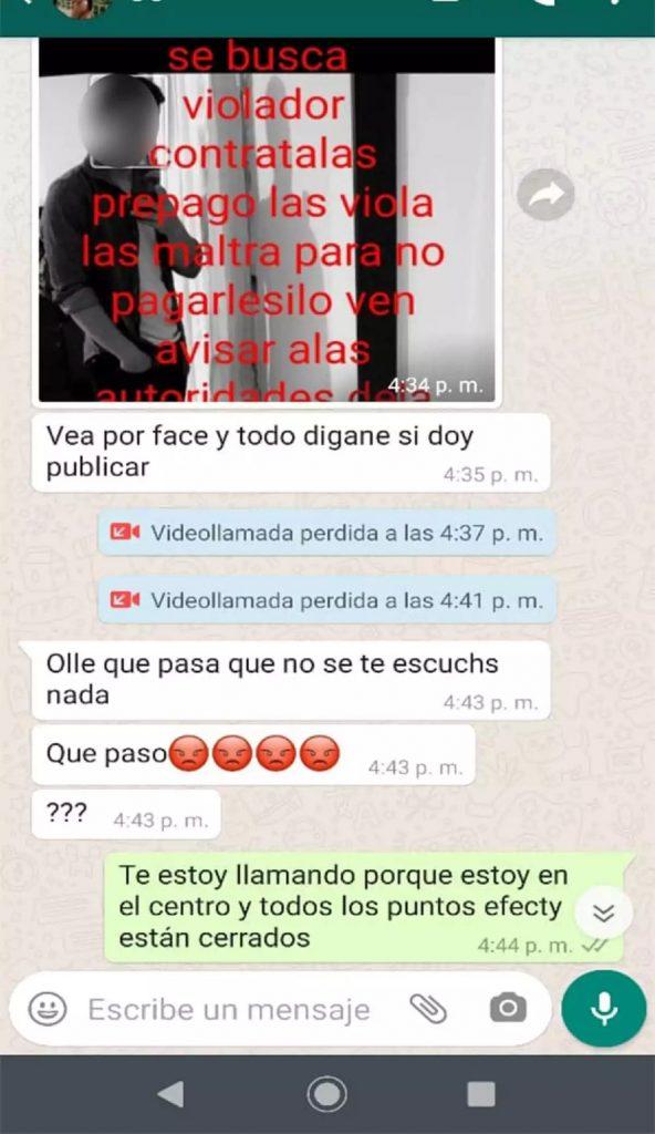 Chat con el que extorsionaban 'Las eróticas' / Captura de pantalla de Noticias Caracol.