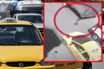 Imágenes que ilustran el momento en que un niño de tres años fue arrollado por un taxista en Bogotá.