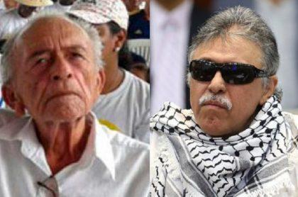 Imagen del padre (que murió) y del líderdisidente guerrillero 'JesúsSantrich'