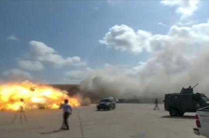 Momento exacto de explosión en aeropuerto de Yemen