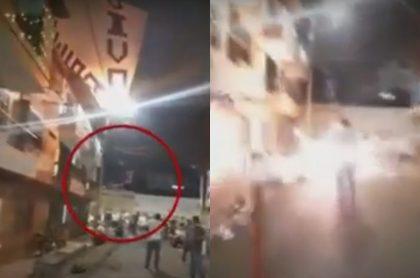 Captura de pantalla de video que muestra que globo gigante cargado con pólvora explotó en Bello, Antioquia