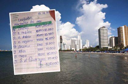 Playas de Bocagrande, en Cartagena, ciudad en la que se denunció, en las playas de Manzanillo del Mar, un cobro abusivo por casi $750.000 a turistas.
