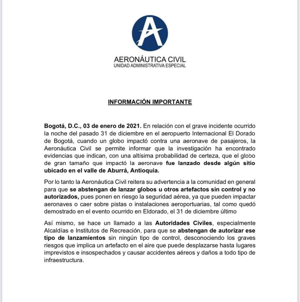 Comunicado de Aerocivil, sobre incidente de globo con avión de Avianca