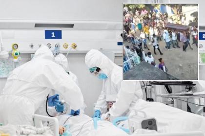 Imagen que ilustra el sepelio masivo de un joven en Cartagena, en donde los dolientes desafían el coronavirus con aglomeraciones y poco tapabocas