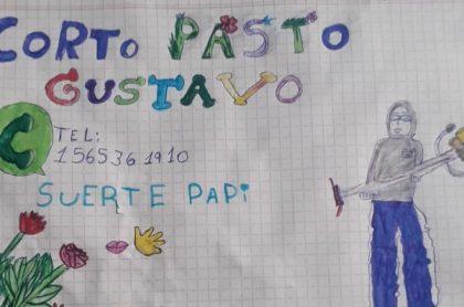 El dibujo de una niña de 9 años que ayudó a su padre a conseguir trabajo en Argentina.
