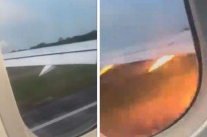 Momento en que el motor de un avión en México explotó.