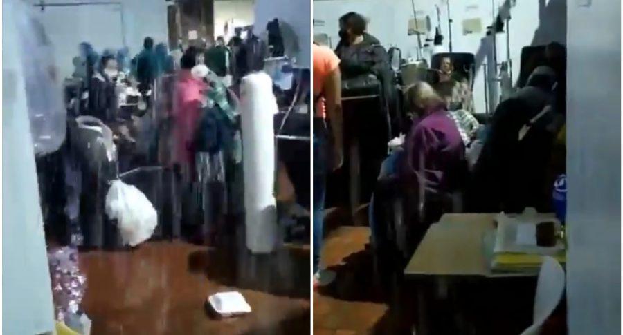 Inundación en el Hospital de Kennedy, por fuertes lluvias en Bogotá