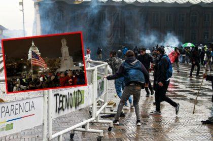 Imágenes de protestas en Bogotá y en Washington.