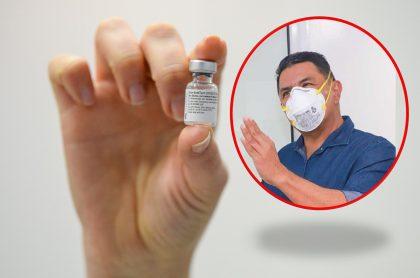 Fotos de vacuna contra COVID-19 y de Jorge Iván Ospina ilustran nota sobre la solicitud que hizo el mandatario para comprar vacunas