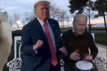 Captura de pantalla de uno de los memes de la suspensión, en Twitter, de Donald Trump, quien aparece en la imagen en un montaje junto a Joe Biden, presidente electo de Estados Unidos.
