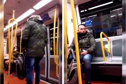 Captura de pantalla de video donde un hombre grita insultos racistas contra una mujer latina en el metro de Madrid.