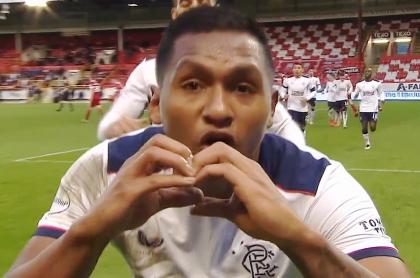Doblete de Alfredo Morelos con el Rangers ante Aberdeen en Escocia.