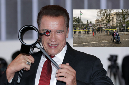 Fotomontaje de Arnold Schwarzenegger y Capitolio de Washignton, Estados Unidos