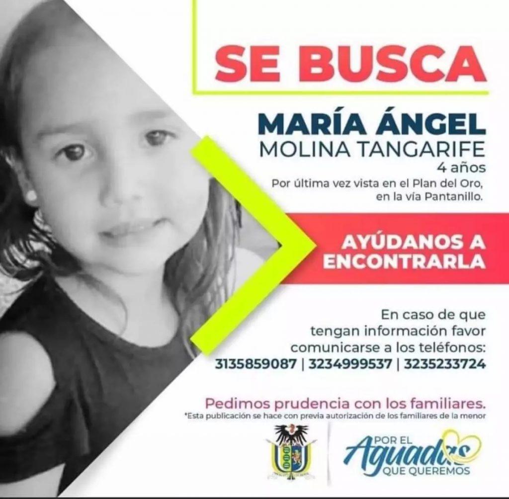 María Ángel Molina / Imagen difundida por la Alcaldía de Aguadas para encontrar a la menor desaparecida.