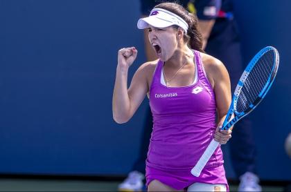 María Camila Osorio, quien ganó en la segundo ronda clasificatoria del Australian Open y está a un triunfo del cuadro principal