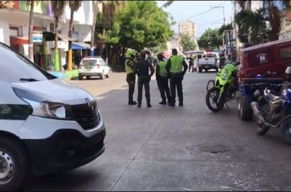 Imagen del sitio en donde explotó una granada en el centro de Barranquilla