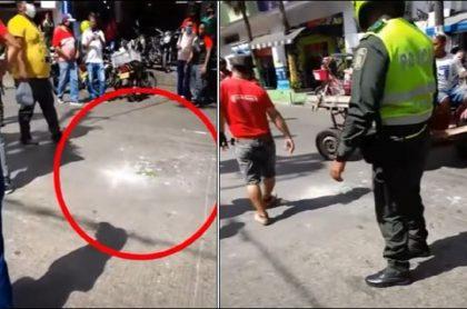 Imágenes del sitio en donde explotó una granada en Barranquilla, en un sector donde comercializan y reparan motos