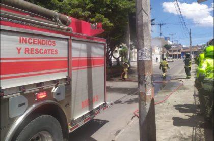 Momento en que bomberos controlan las llamas que alcanzaron varios árboles en Fontibón