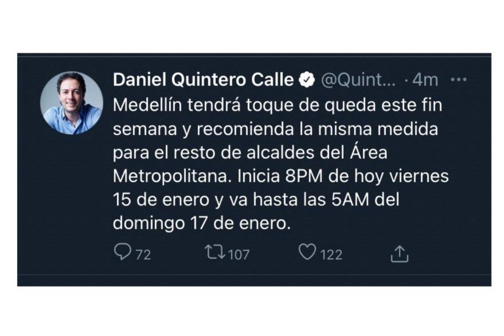 Mensaje equivocado del toque de queda en Medellín. Captura de pantalla de @QuinteroCalle.