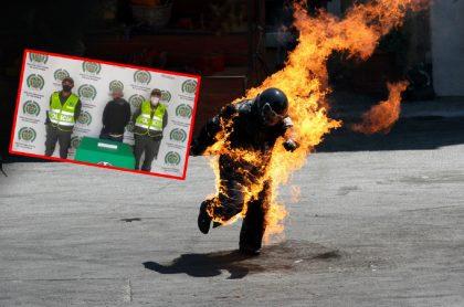 Imágenes que ilustran el caso de un habitante de calle que prendió fuego a un hombre.