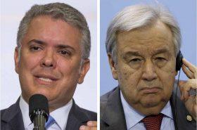 Iván Duque, presidente de Colombia, le pidió al Secretario General de la ONU, Antonio Guterres, que extienda el mandato de la misión de verificación del acuerdo de paz en Colombia.