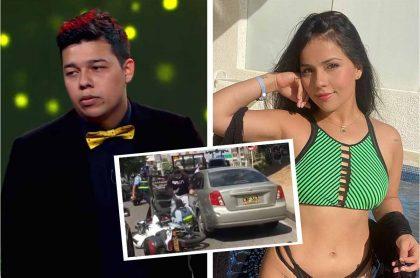 Anderson Niño, humorista que fue campeón de 'cuentachistes' en 'Sábados Felices', en 2019, y Aida Cortés, 'influenciadora', quienes serían los responsables de arrollar a un agente de tránsito en Bucaramanga.