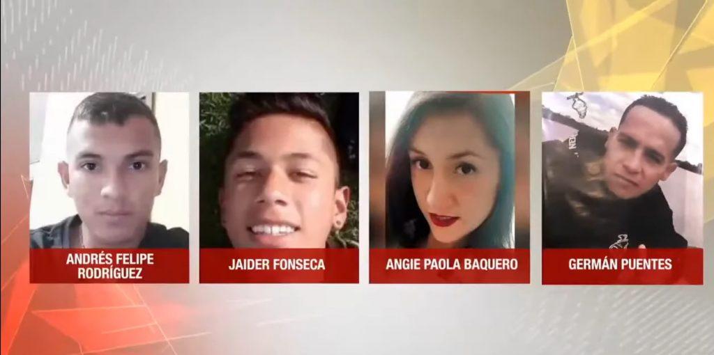 Andrés Felipe Rodríguez, Jaider Alexánder Fonseca, Angie Paola Baquero y Germán Puentes / Captura de Noticias Uno