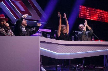 'El Profe' y 'DIM' (Piso 21) junto a Rosana y José Gaviria, jurados de 'Factor X', programa que tuvo buen 'rating' en su estreno 2021 en RCN.