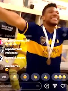 El baile de los colombianos en vestuario de Boca Juniors. Fotomontaje: Pulzo.
