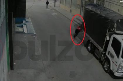 Imagen del robo de un camión en el sur de Bogotá.