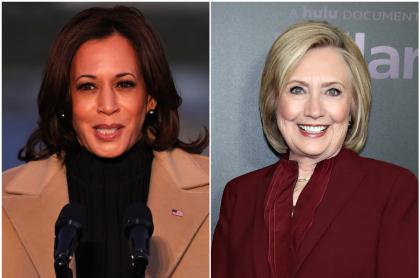Foto de Kamala Harris y Hillary Clinton, a propósito de sus pintas en posesión de Biden